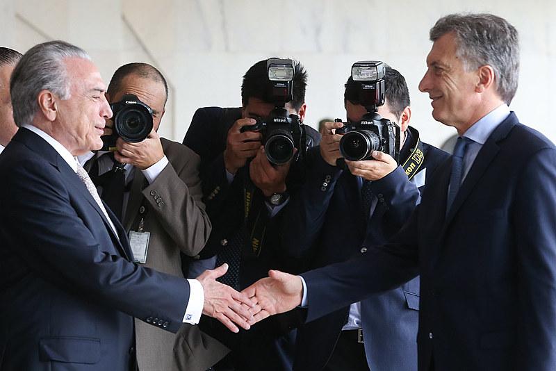 Presidentes Michel Temer e Maurício Macri, da Argentina, durante almoço oferecido ao presidente argentino, no Palácio Itamaraty