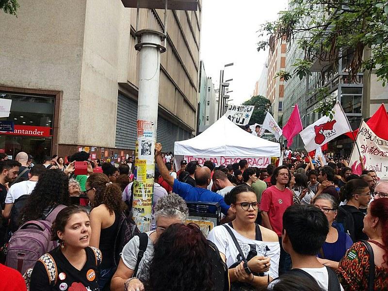 A concentração da manifestação ocorre na Praça Sete de Setembro, centro da capital mineira