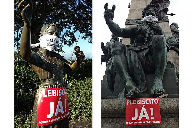 No dia 9, manifestantes cobriram o rosto de dezenas de monumentos que estariam, simbolicamente, sendo calados pelo governador Eduardo Leite.