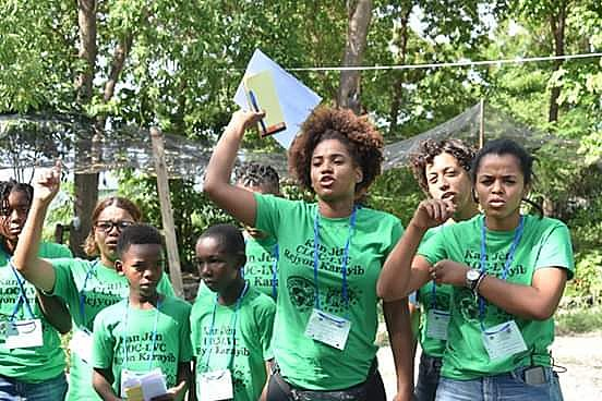 Participantes da 3ª edição do Acampamento Caribenho da Juventude, organizado pela Via Campesina e pela CLOC, realizado no Haiti