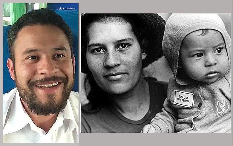 Marcos Tiaraju em foto atual em Palmeiras das Missões e de 1986, com a mãe, no assentamento Anoni