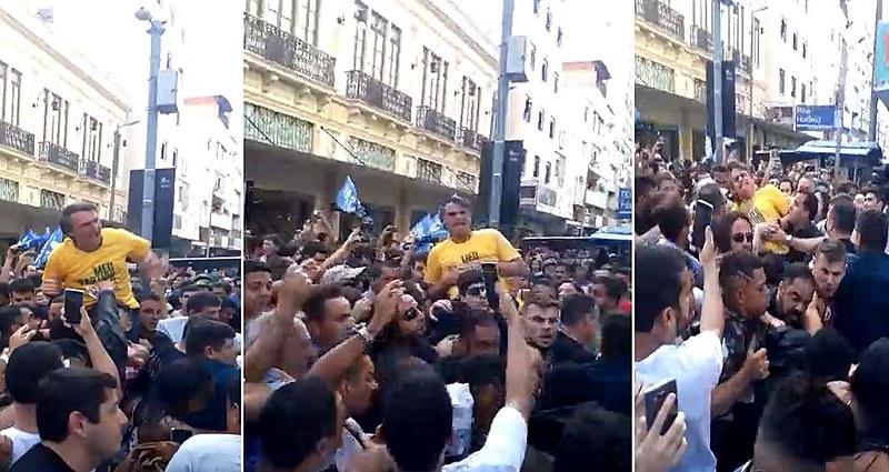 Ataque a Bolsonaro é registrado pelas pessoas que acompanhavam ato político em Juiz de Fora