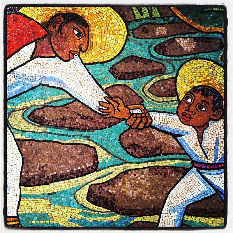 """Fragmento do mural """"Baño de Tehuantepec"""" ou """"Baño en el Río"""", de Diego Rivera"""