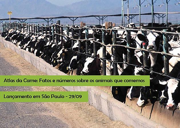 Convite do evento do lançamento do Atlas da Carne em português, que acontecerá nesta quinta-feira (29), em São Paulo