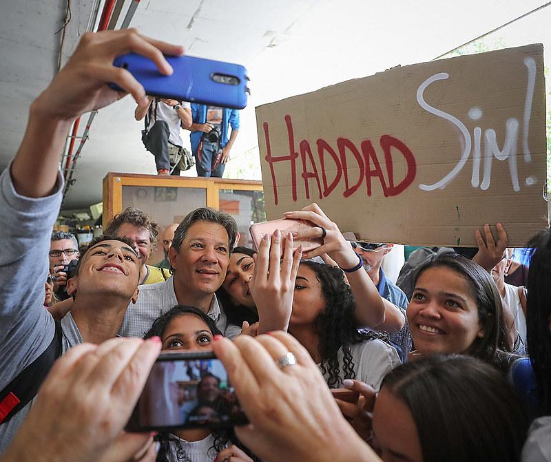 Haddad participou de agenda com catadores de material reciclável na Cooperativa Coopamare, em São Paulo (SP)