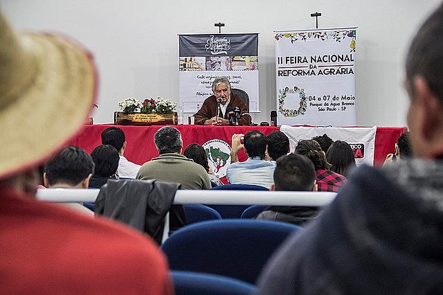 Ex-presidente de Uruguay José Mujica participa de rueda de prensa con periodistas en la Feria Nacional de la Reforma Agraria