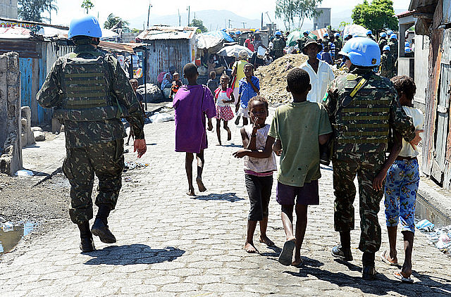 U.N. troops (MINUSTAH) march in Haiti.