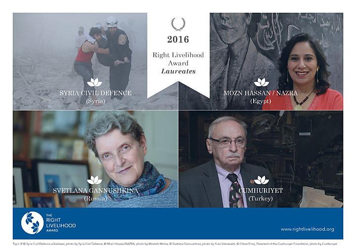 Os quatro ganhadores desta edição do prêmio Right Livelihood Award