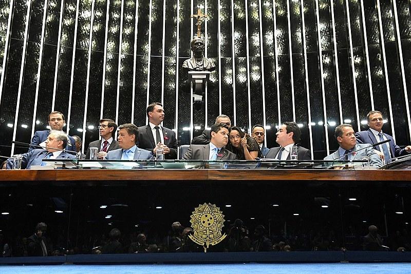 Mesa do Senado na votação em primeiro turno da reforma da Previdência