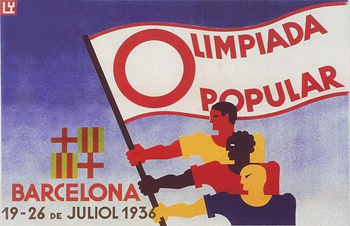Arte produzida para a divulgação da Olimpíada Popular de 1936.