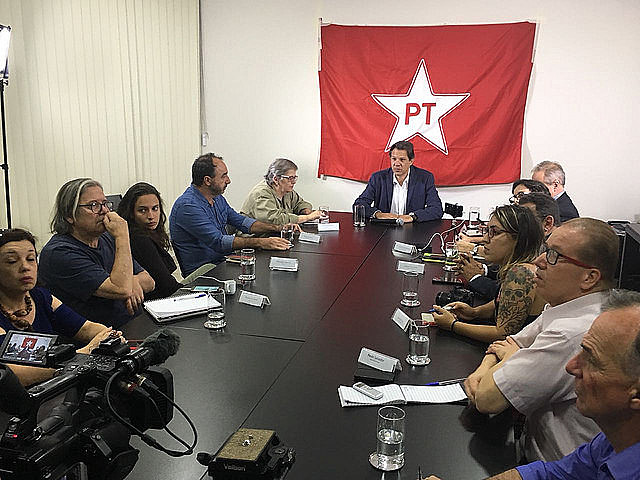Haddad, a former minister of Education and now presidential candidate, took part in press conference at the Lula Institute in São Paulo