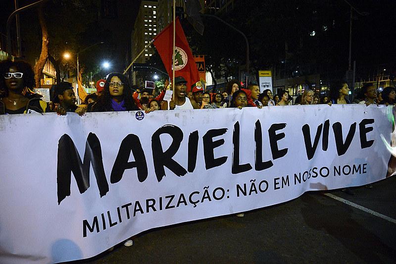 Passeata no Rio de Janeiro para lembrar 120 dias do assassinato de Marielle Franco e seu motorista, Anderson Gomes, em julho de 2018