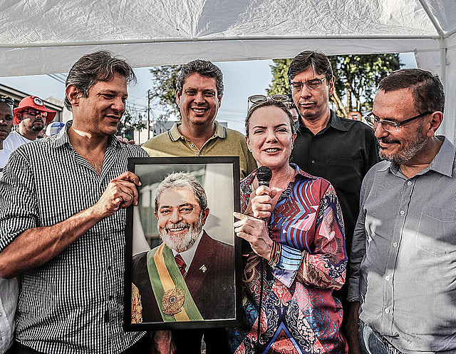 Launch of PT platform at Free Lula Vigil in Curitiba, southern Brazil