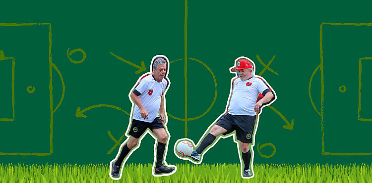 Celebrated Brazilian musician and author Chico Buarque (left) and ex-president Lula played a friendly soccer match with MST members