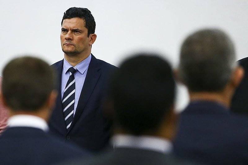Cara amarrada: o ministro Sérgio Moro durante evento em Brasília no mês passado