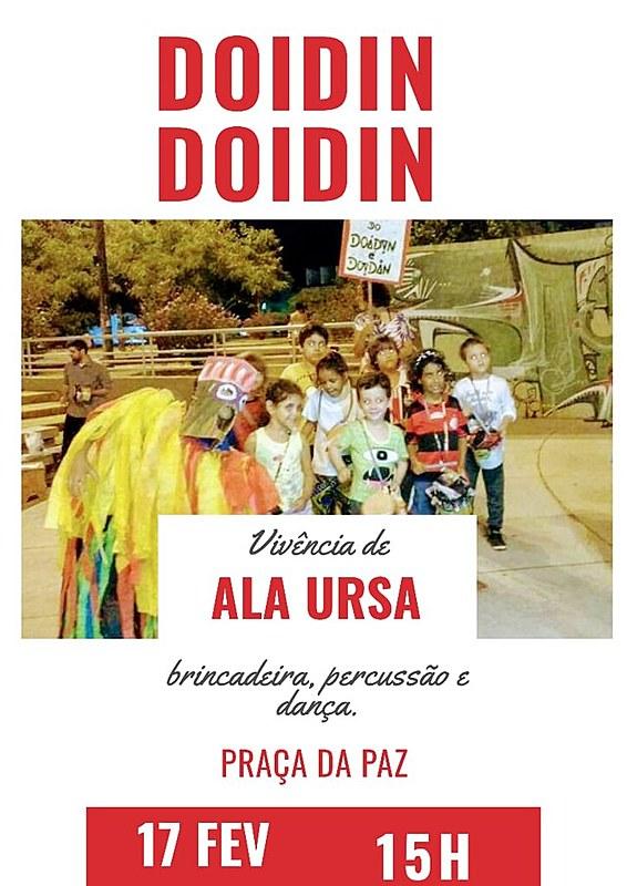 A prévia do Doidin é Doidin acontece com a vivência de Ala Ursa. Qualquer criança pode participar.