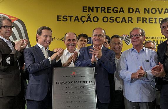 Governador Geraldo Alckmin e Prefeito João Doria inauguram Estação Oscar Freire, ainda incompleta, dias antes de deixarem seus mandatos