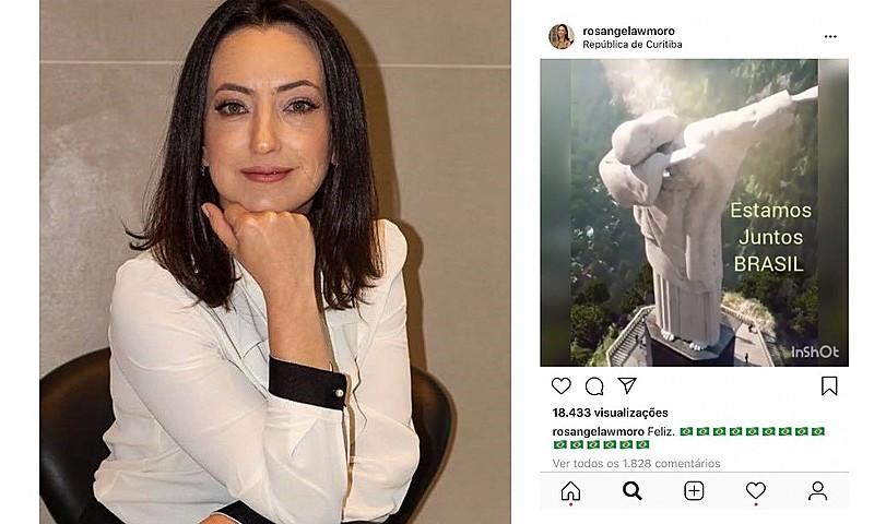 """Rosângela, que diz residir na """"República de Curitiba"""" em sua conta no Instagram, se disse """"feliz"""" com a eleição do militar"""