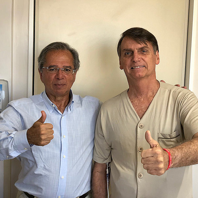 "Economist Paulo Guedes (left) said Brazil was ""held captive by ideological alliances"" with Mercosur"