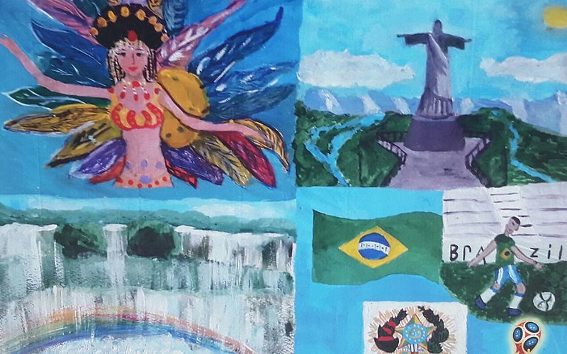Veronica Budyaieva, de 12 anos, reuniu os três elementos em um mesmo desenho
