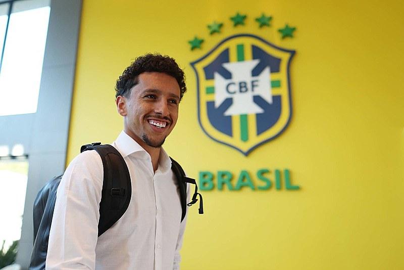 Jogador Marquinhos se apresentando a seleção brasileira na Granja Comary