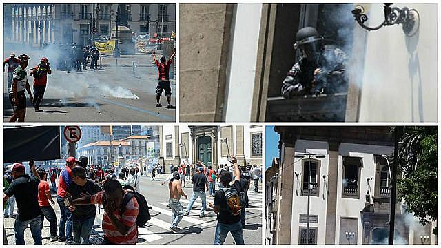 Protesta en Río, contra medida que prevé cortes de derechos fue fuertemente reprimido por la PM