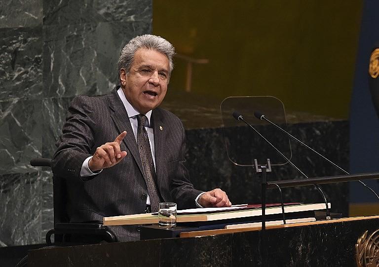Presidente equatoriano Lenín Moreno durante discurso na Assembleia Geral da ONU em setembro