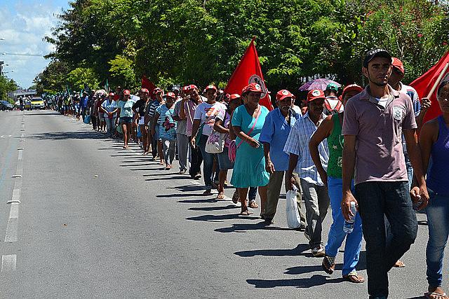 Marcha durante La Jornada Nacional de Luchas en Defensa de la Reforma Agraria en 2015