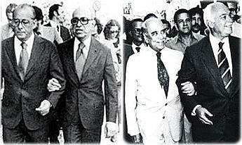 Roberto Marinho, então dono da Globo, de braços dados com o poder e um dos mentores da ditadura militar