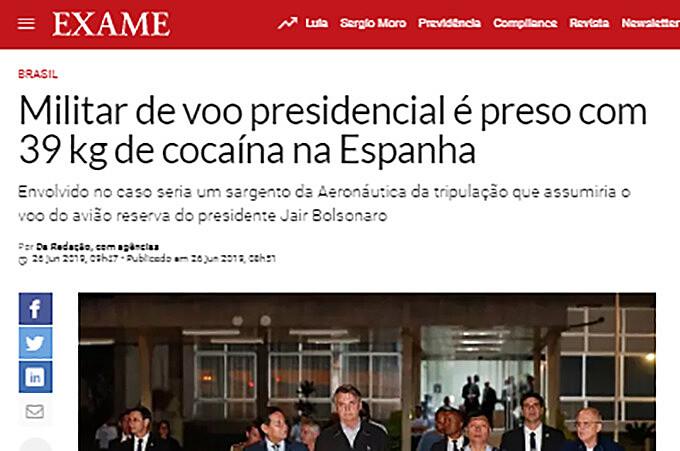 """Matéria da revista Exame dando conta da """"inovação"""" nas viagens presidenciais internacionais: 39 quilos de cocaína"""