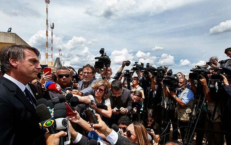 Jair Bolsonaro, durante coletiva em que anunciou mudanças em impostos, que seu ministro desmentiu horas depois