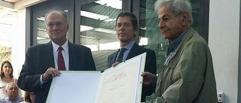 Raduan Nassar, o embaixador de Portugal Jorge Cabral e o ministro da Cultura, Roberto Freire, na entrega do Prêmio Camões