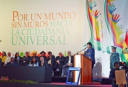 O presidente boliviano, Evo Morales, realizou um discurso na abertura do encontro