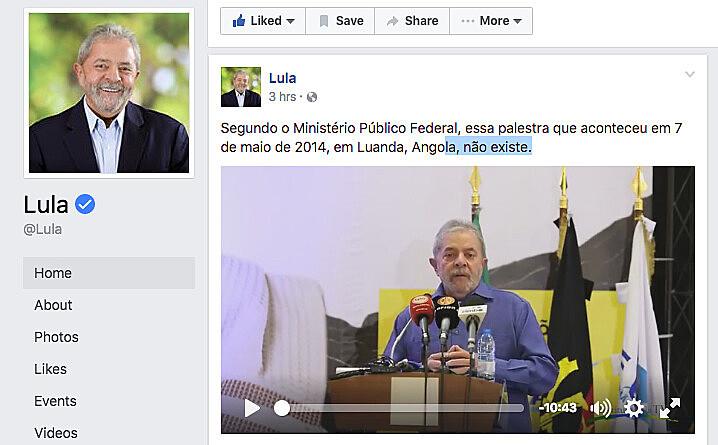 Palestra de Lula em Luanda, Angola, publicada na página do Instituto Lula