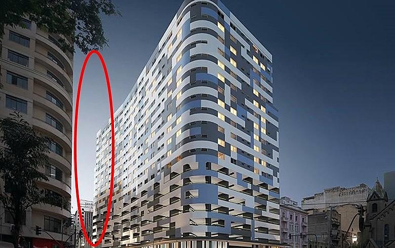 Área destacada na imagem devia conter o prédio ocupado que desabou no dia 1º devido ao incêndio de grandes proporções