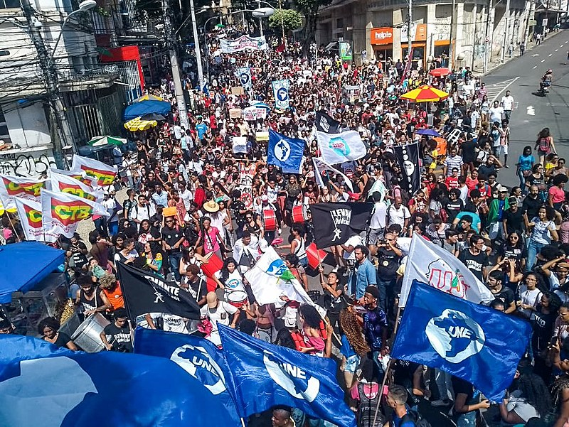 Protest held in the morning in Salvador, northeastern Brazil, againt the public education budget cuts announced by the far-right government