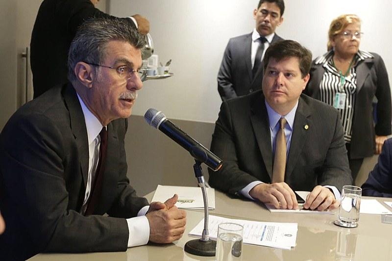 O presidente da legenda, senador Romero Jucá, em reunião executiva do partido nesta quarta (12)