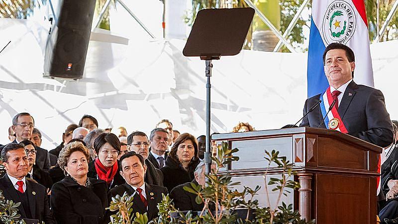 O presidente paraguaio, Horacio Cartes, em seu primeiro discurso como chefe de Estado, em agosto de 2013