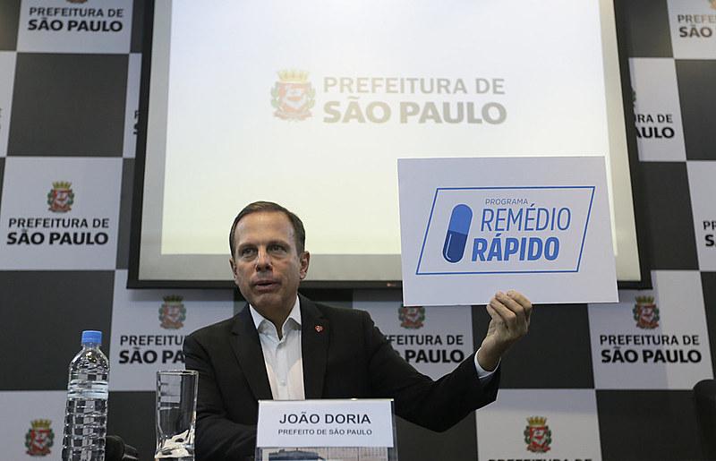 João Doria na coletiva de imprensa do projeto remédio rápido que, conforme denúncias, acabou custando à prefeitura de SP cerca de R$ 60 mil