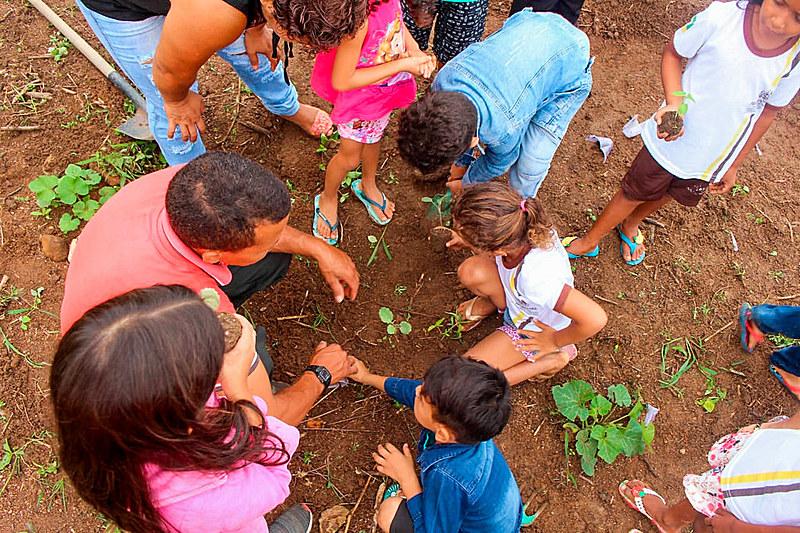 Crianças têm aula de hortas agroecológicas na Escola Maria Salete no Pará