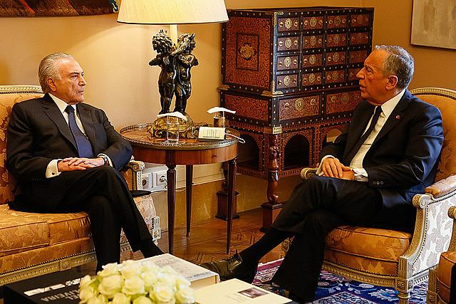 Presidente no electo Michel Temer durante encuentro con el Presidente de la República Portuguesa, Marcelo Rebelo de Sousa