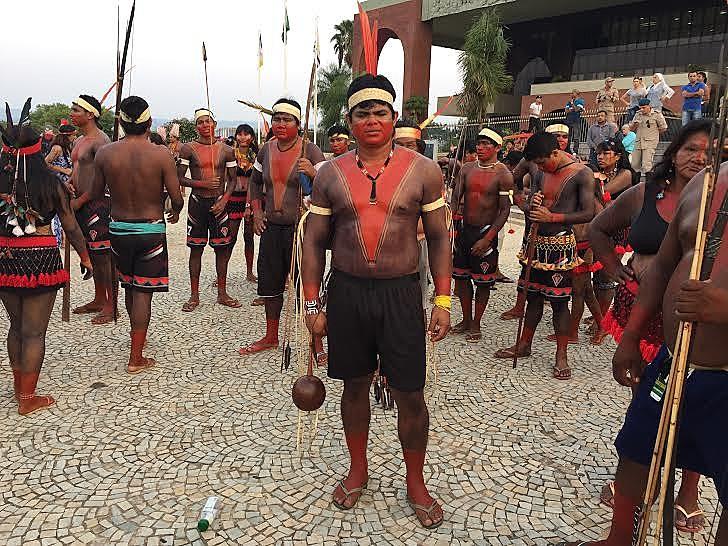 Cacique Jakurere, da etnia Gavião, durante os Jogos Indígenas de 2015