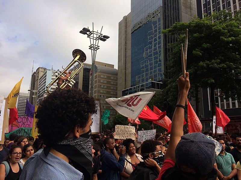 Manifestantes na concentração do primeiro ato do MPL deste ano