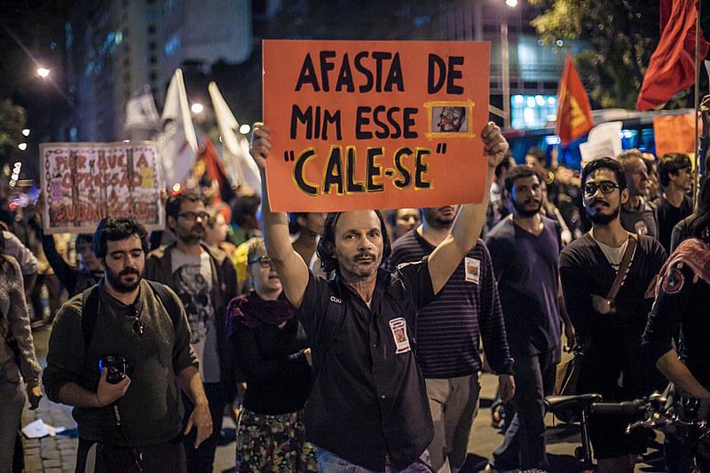 """Ato Nacional """"Protesto não é crime"""", no Rio de Janeiro, em 2014"""