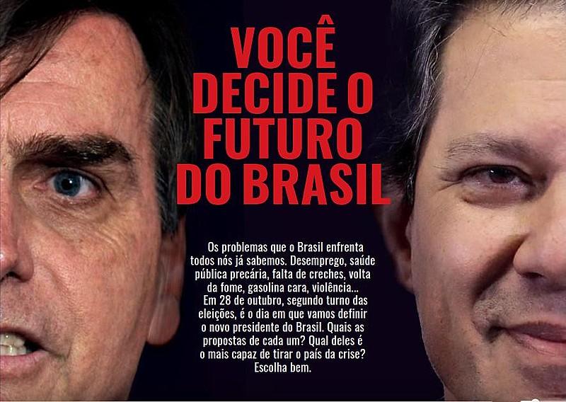 """Com a manchete """"Você decide o futuro do país"""", o jornal pretende dialogar com a população sobre o atual cenário político do país"""