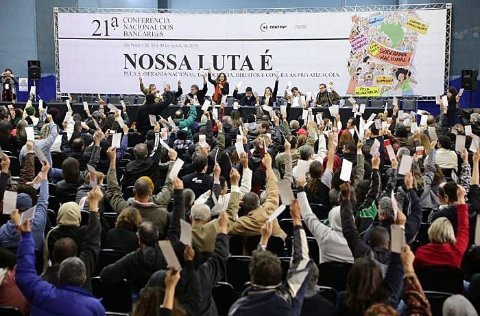 A atividade reuniu 600 delegados sindicais no Sindicato dos Bancários de São Paulo