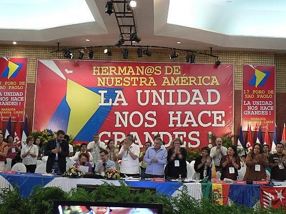 Encerramento do 17 ª Encontro do Foro de São Paulo, em 2011, também realizado em Manágua, na Nicarágua