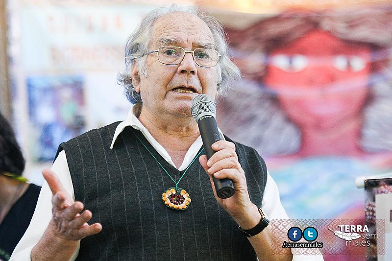 Adolfo Pérez Esquivel durante a 3ª Feira de Sementes Crioulas de Mandirituba, em Curitiba, realizada em 30 de agosto de 2015