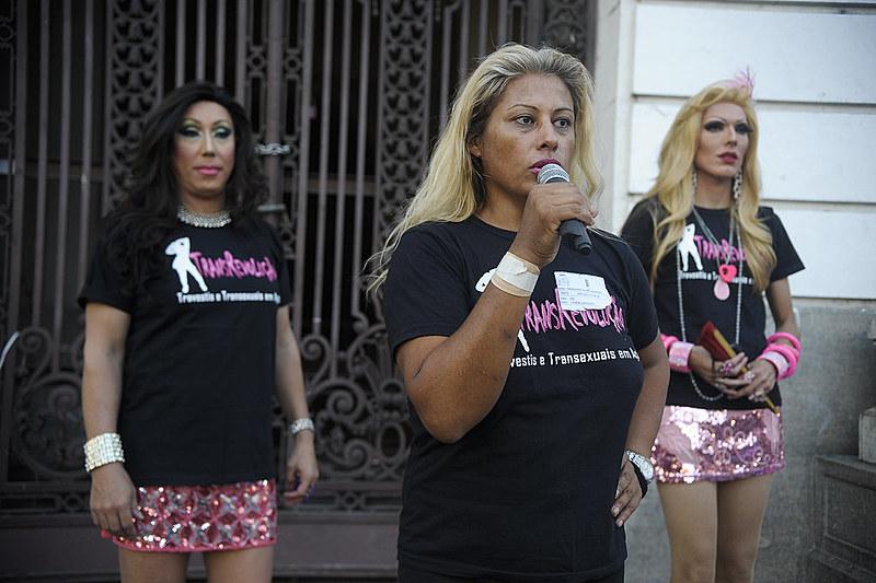 Coordenadora da Ong TransRevolução, Indianara Alves Siqueira, durante o ato do Dia Nacional da Visibilidade Trans, no centro do Rio, em 2016