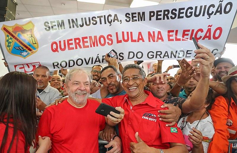 Ex-presidente Lula durante ato no Sindicato dos Metalúrgicos em São Bernardo do Campo nesta quarta